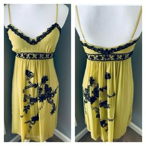 Sue Wong Nocturne Slip Dress Beaded Chartreuse S